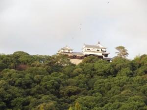 夕暮れの松山城の写真です。クリックすると拡大します