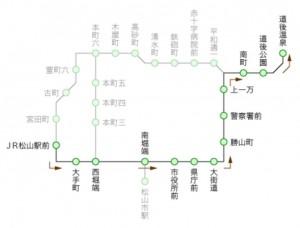 市内電車と坊っちゃん列車の走るコースです。クリックすると拡大します。