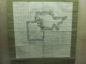 天守閣一階に展示してある、松山城の平面図の写真です。クリックすると拡大します。