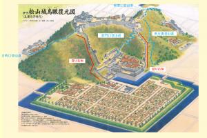 松山城の「鳥瞰図」です。クリックすると拡大します。